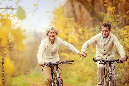 Fényképezés  Active seniors riding bike