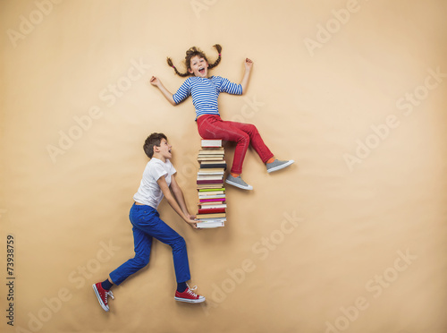 Fotografie, Tablou  Children with books