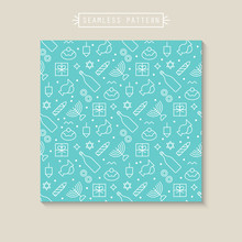 Seamless Pattern With Hanukkah Flat Line Icons