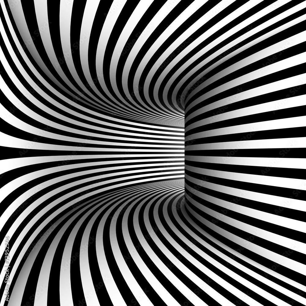 Fototapety, obrazy: Zakrzywiony korytarz, abstrakcja czarno biała 3D