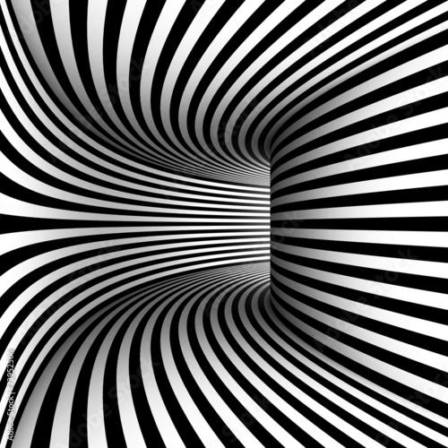 Obraz Zakrzywiony korytarz, abstrakcja czarno biała 3D - fototapety do salonu
