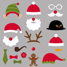 Christmas Santa, Elf, Deer And Snowman Design Elements Set