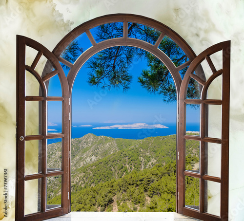 Fotografie, Tablou  nature landscape with a view through a window with curtains