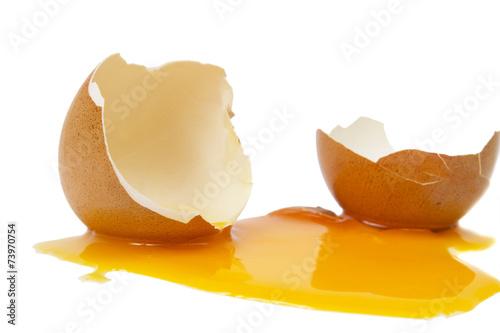 Tela broken egg isolated on a white background