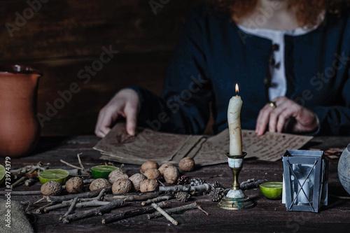 Witch preparing potion Wallpaper Mural