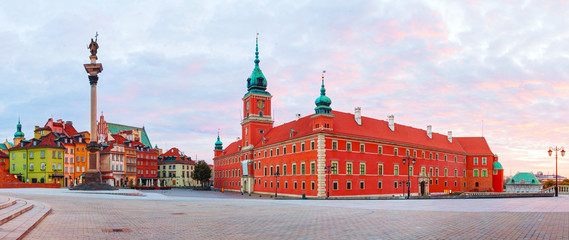 Panel SzklanyCastle square panorama in Warsaw, Poland