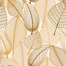 Atumnal Seamless Pattern With Brown Leaves