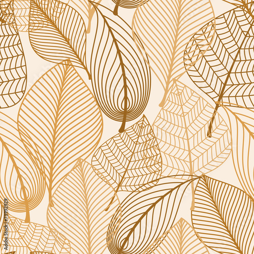 Obraz Atumnal seamless pattern with brown leaves - fototapety do salonu