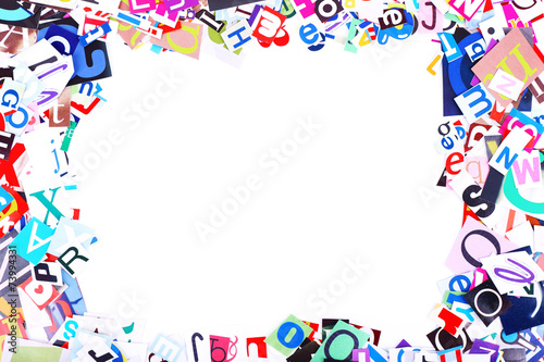 Colorful newspaper letters shaped as frame - Buy this stock photo ...