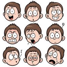Vector Illustration Of Boy Face Set