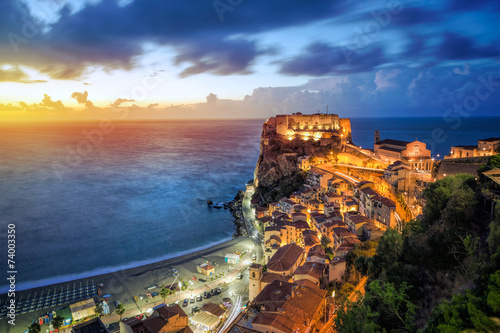 Photo  View over Scilla with Castello Ruffo at sunset, Calabria, Italy