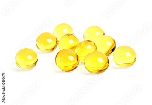 Obraz na plátne Cod liver oil omega 3 gel capsules on a white background