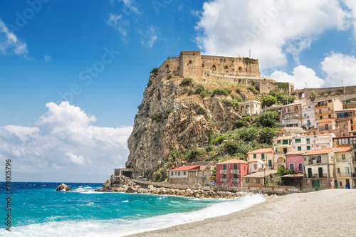 Beach of Scilla with Castello Ruffo, Calabria, Italy Canvas Print