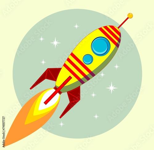 Foto op Canvas Kosmos Flight of the Space Rocket, Vector