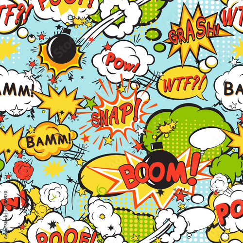Plakaty Pop Art  comic-boom-seamless-pattern