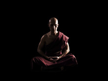 Buddhist Monk In Meditation Po...