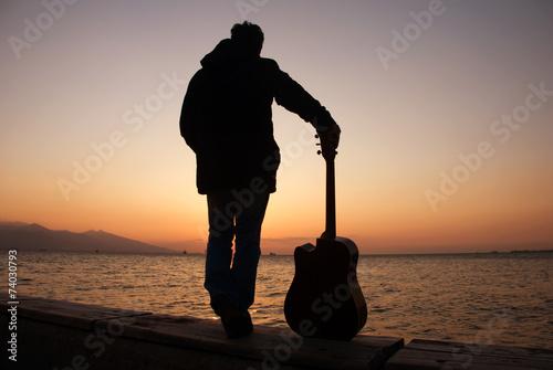 Photo  Guitarist Silhouette