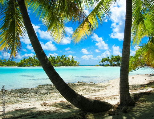 Obraz na plátně Lagon bleu, Tahiti, plage.