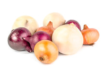 Yellow And Red Onion Isolated On White Background