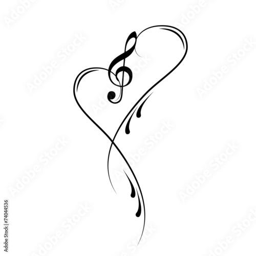 Sticker - Notenschlüssel Noten Musik Vektor