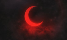 Illustrated Red Moon In Clouds