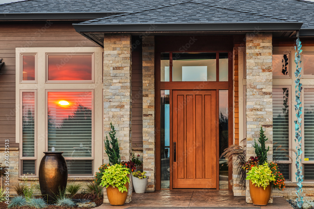Fototapety, obrazy: Beautiful New Home Exterior at Sunset