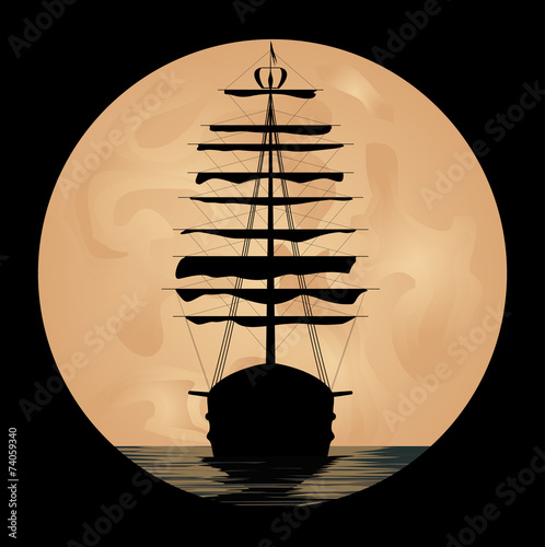 Fotografie, Obraz  Ship on background of the moon