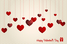 Retro Valentines Card With Abstract Hearts
