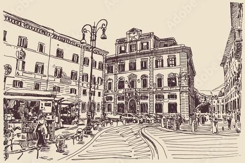 szkic-strony-rysunku-rzym-wlochy-slynny-grod