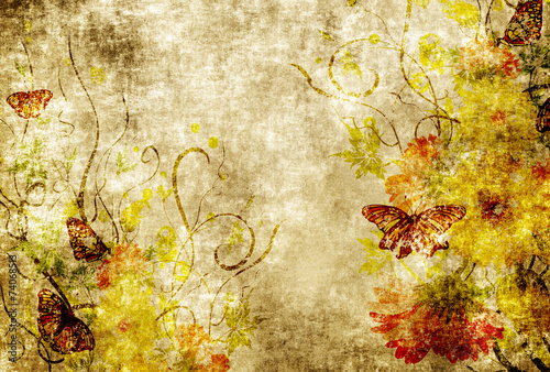 Poster Butterflies in Grunge Grunge paper with floral patterns.