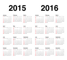 Calender 2015 And 2016