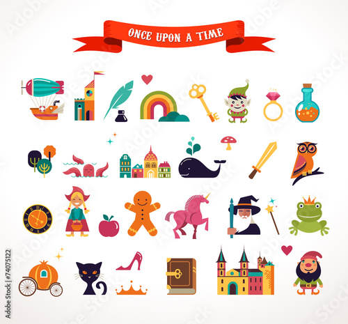Collection of fairy tale elements, icons Poster