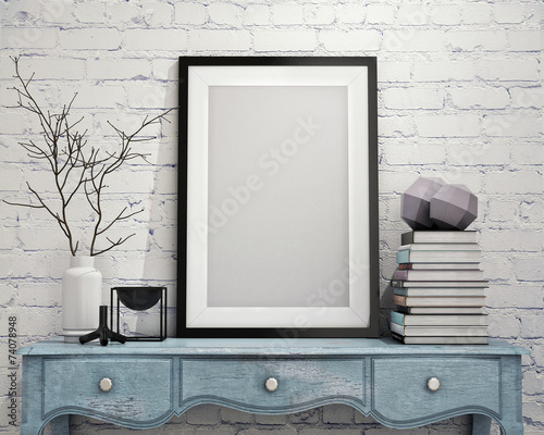 mock up poster frame on vintage chest of drawers, interior Wall mural