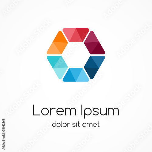 Poster  Color logo template. Hexagon element, ymbol.