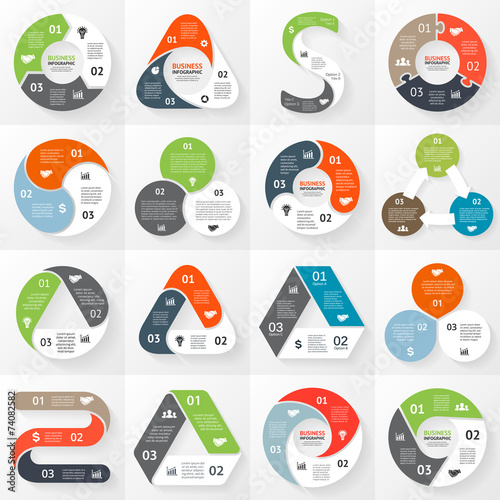 Fotografie, Obraz  Infographic, diagram, 3 options, parts, steps.
