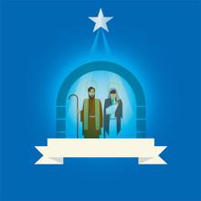 Nativity Scene Vector Icon Illustration Concept Label