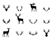 Set Of Antlers, Silhouette, Ve...