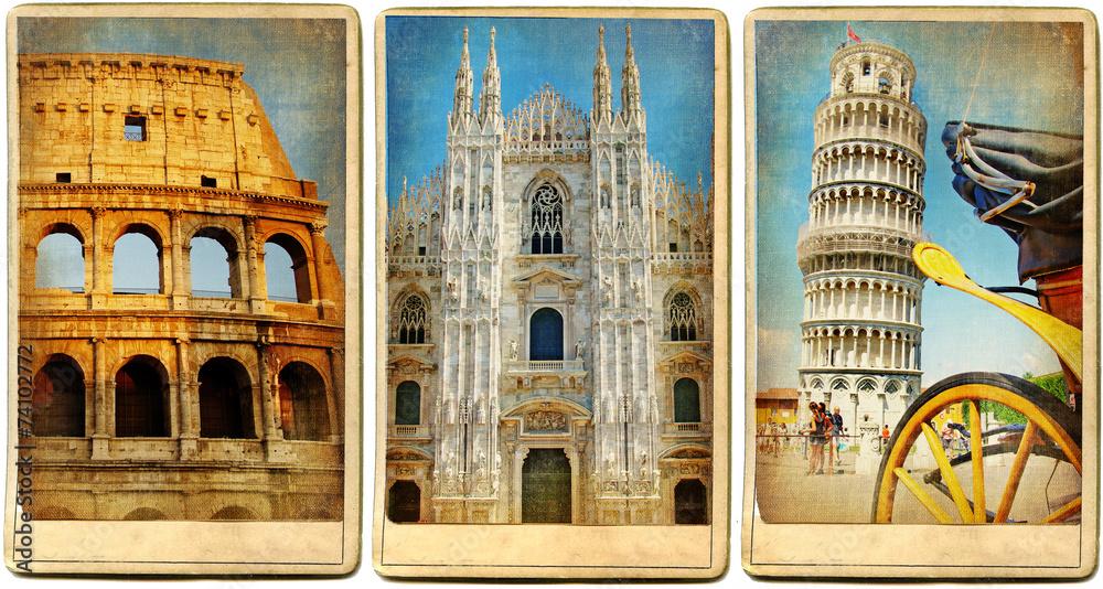 Valokuva  Italian landmarks - vintage cards series