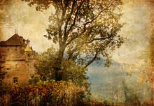 Medieval Chillion Castle, Swiss, Artistic Vintage Picture