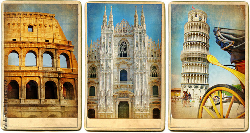 Photo  Italian landmarks - vintage cards series