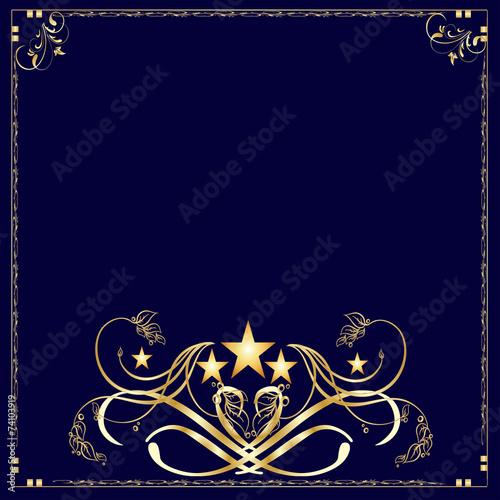 Fotografia, Obraz  Background-Navy Blue and Gold Frame