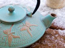 Oriental Iron Teapot On A Fros...
