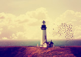 a lighthouse with a flock of birds with instagram filter - 74116121