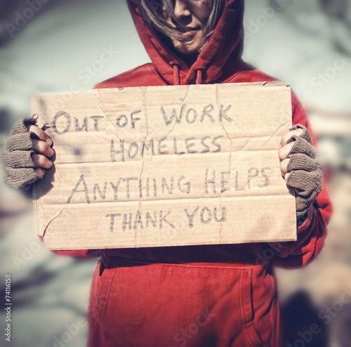 Obraz na plátně a homeless person with a sign