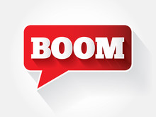 BOOM Text Message Bubble, Vector Background