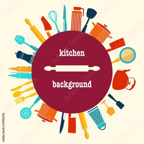 Fotografia  Pattern of Kitchen utensil kitchen-background