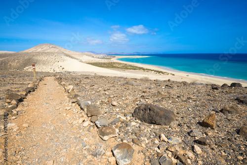 Deurstickers Canarische Eilanden GR 131, long-distance footpath in Fuerteventura (Spain)