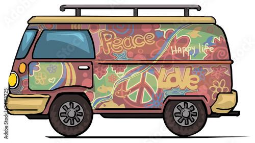Cuadros en Lienzo Classic vintage hippie van, bus, painted