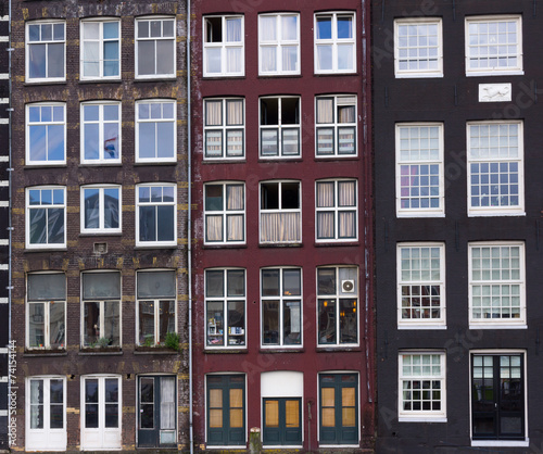 Photo  Facades of houses in old city in Amsterdam