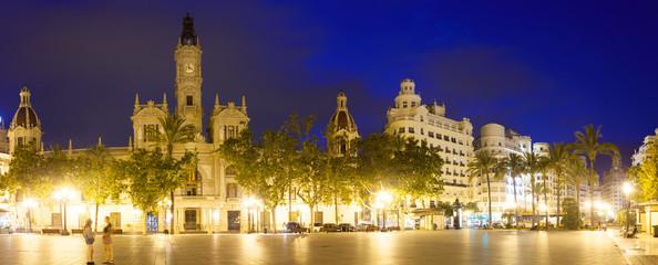 Fototapeta na wymiar  Placa del Ajuntament with City Hall. Valencia